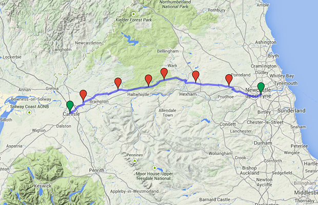 The 70-mile Hadrian's Wall route.