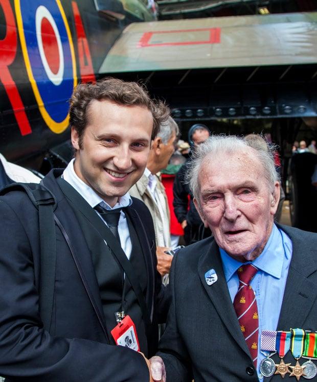 Lincoln Photographer Sean Strange with Squadron Leader George 'Johnnie' Johnson.