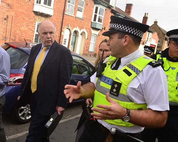 Shadow Minister Jack Dromey walks with police officers on the beat in the Portland Street area. Photo: Steve Smailes for The Lincolnite.