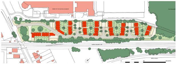 Outline plans of the 54-dwelling development.