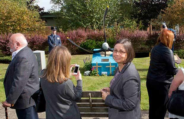 Relatives at the Australian memorial at RAF Waddington.