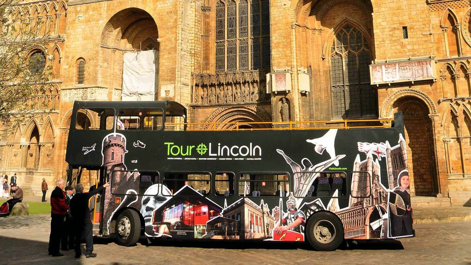 The Tour Lincoln open-top bus.