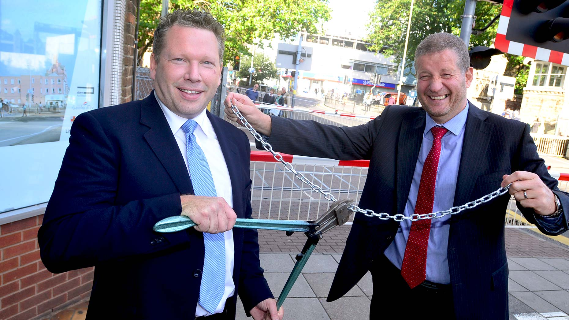 Lincoln MP Karl McCartney marked the start of the High Street footbridge work with Network Rail Managing Director Phil Verster. Photo: Steve Smailes for The Lincolnite