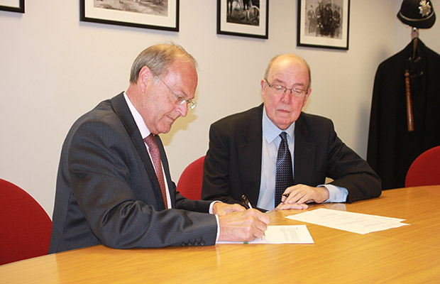 Lincolnshire's Police and Crime Commissioner (PCC), Alan Hardwick, and Chairman of the Police and Crime Panel (PCP), Norman Norris, have signed a document setting out the parameters in which they will work. Photo:ELDC