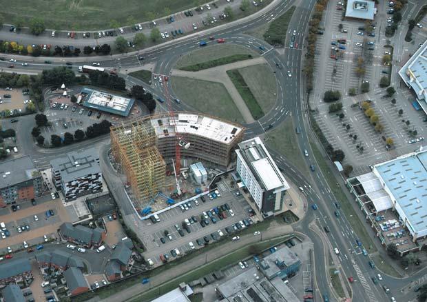 The Gateway development seen from above