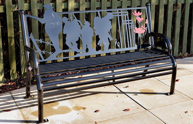 The memorial bench marks 100 years since the outbreak of WWI.