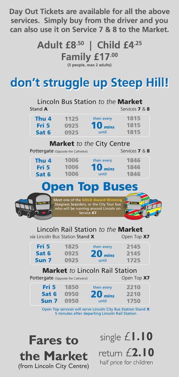 Extra bus services during the Lincoln Christmas Market.
