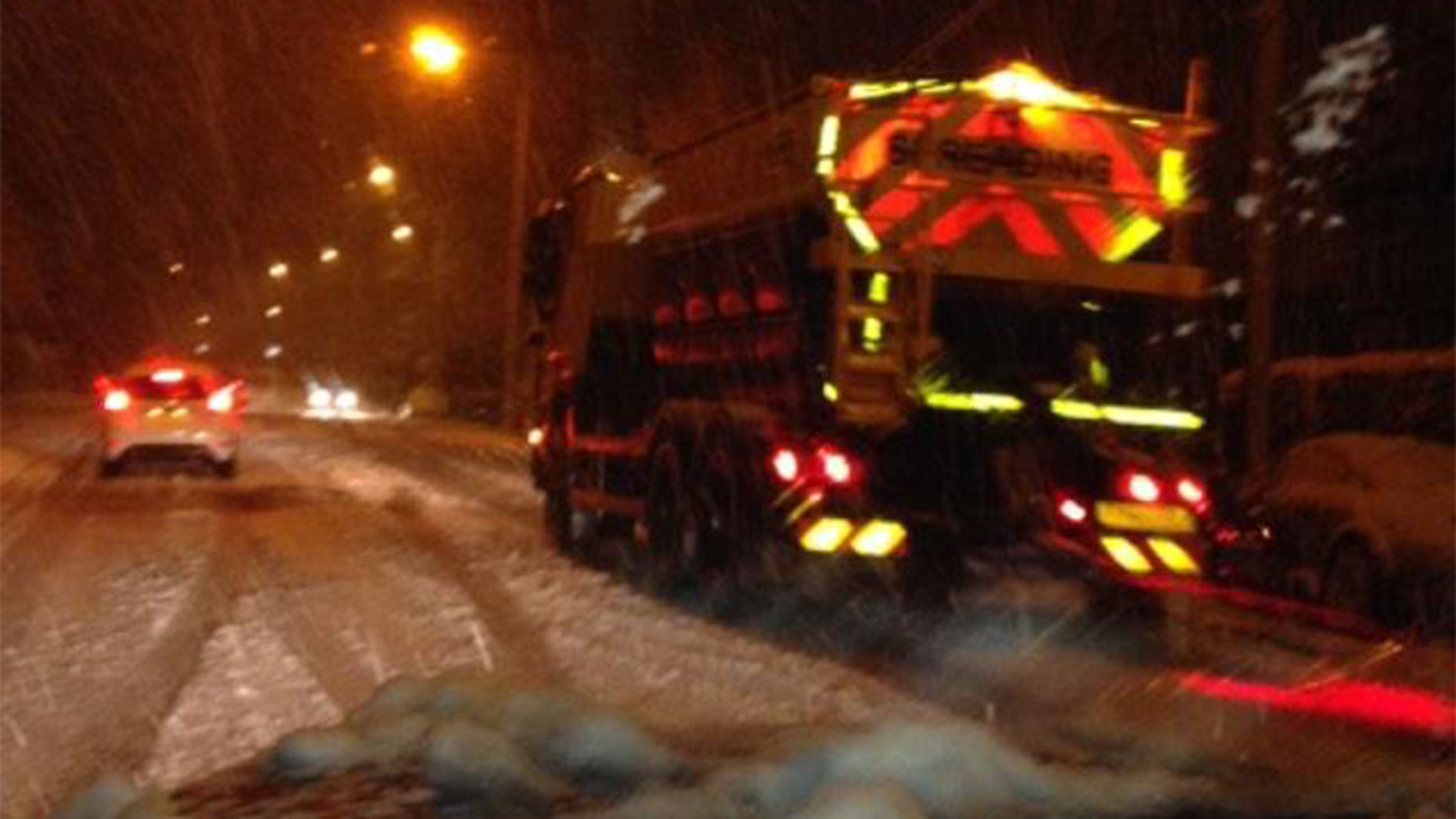 Lincolnshire County Council's gritting team on Cross O Cliff Hill in Lincoln late on December 26. Photo: Jonathan Fitzgerald