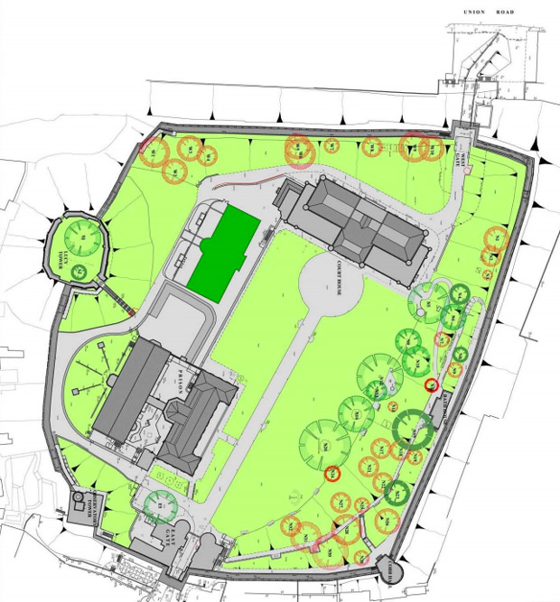 Trees (circled in red) to be felled ahead of Lincoln Castle's big reveal. File: LCC