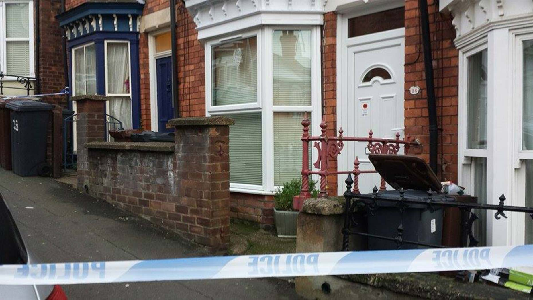 The area around several homes on Arboretum Avenue remains cordoned off on Tuesday morning.