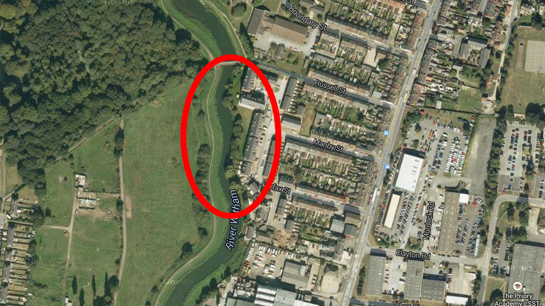 The area where the body was found and where police are investigating. Map data: Google