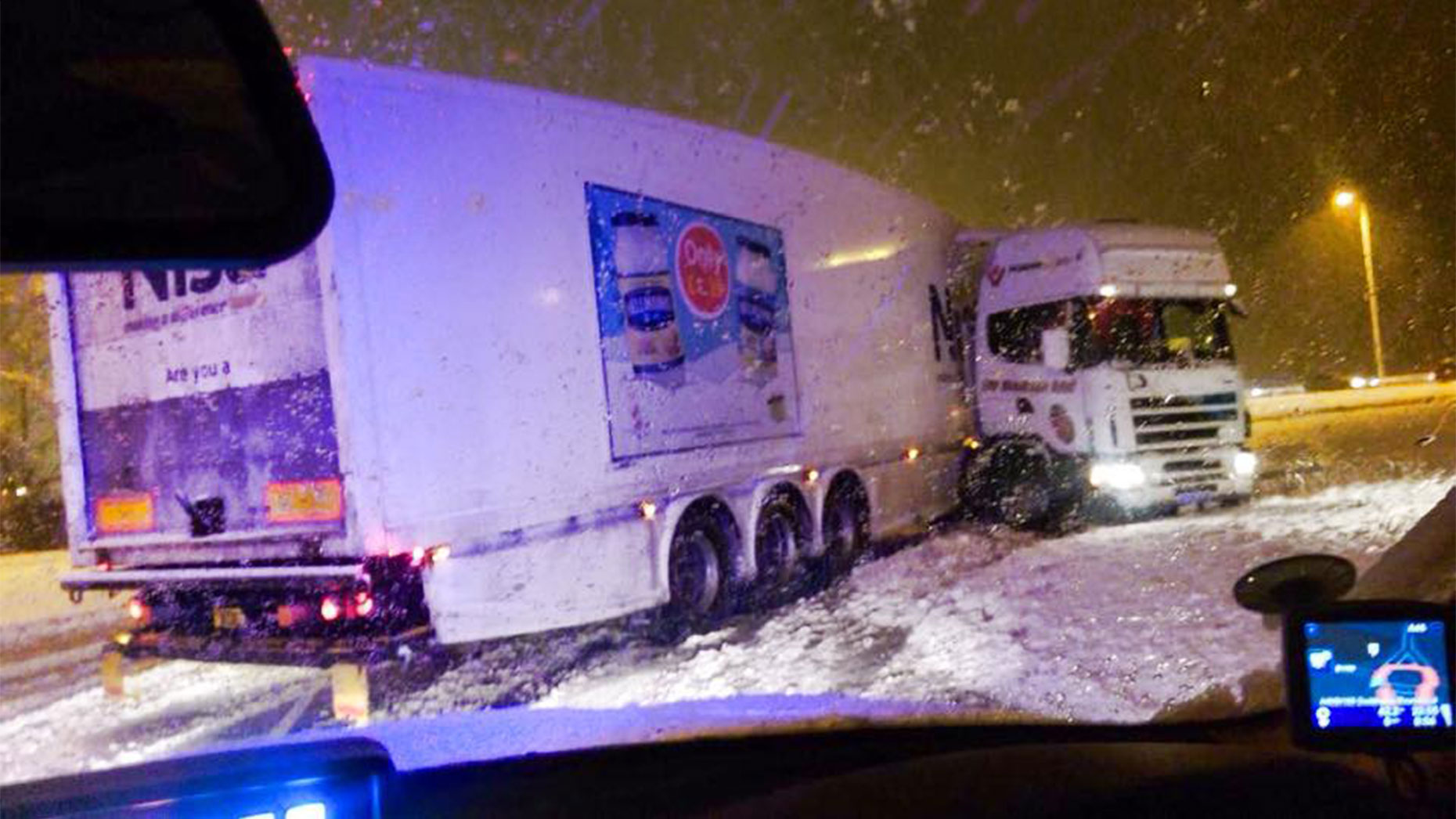 An HGV in a bit of a predicament at the Doddington Road roundabout in Lincoln on December 26. Photo: Lincs Road Policing
