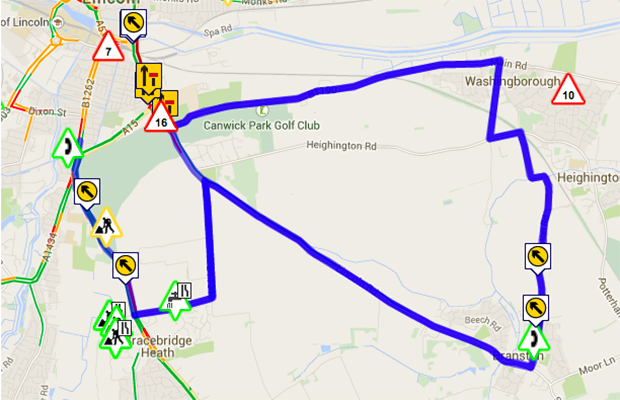 Delays as a result of the Canwick Road works on Wednesday, January 7. Photo: Google Maps
