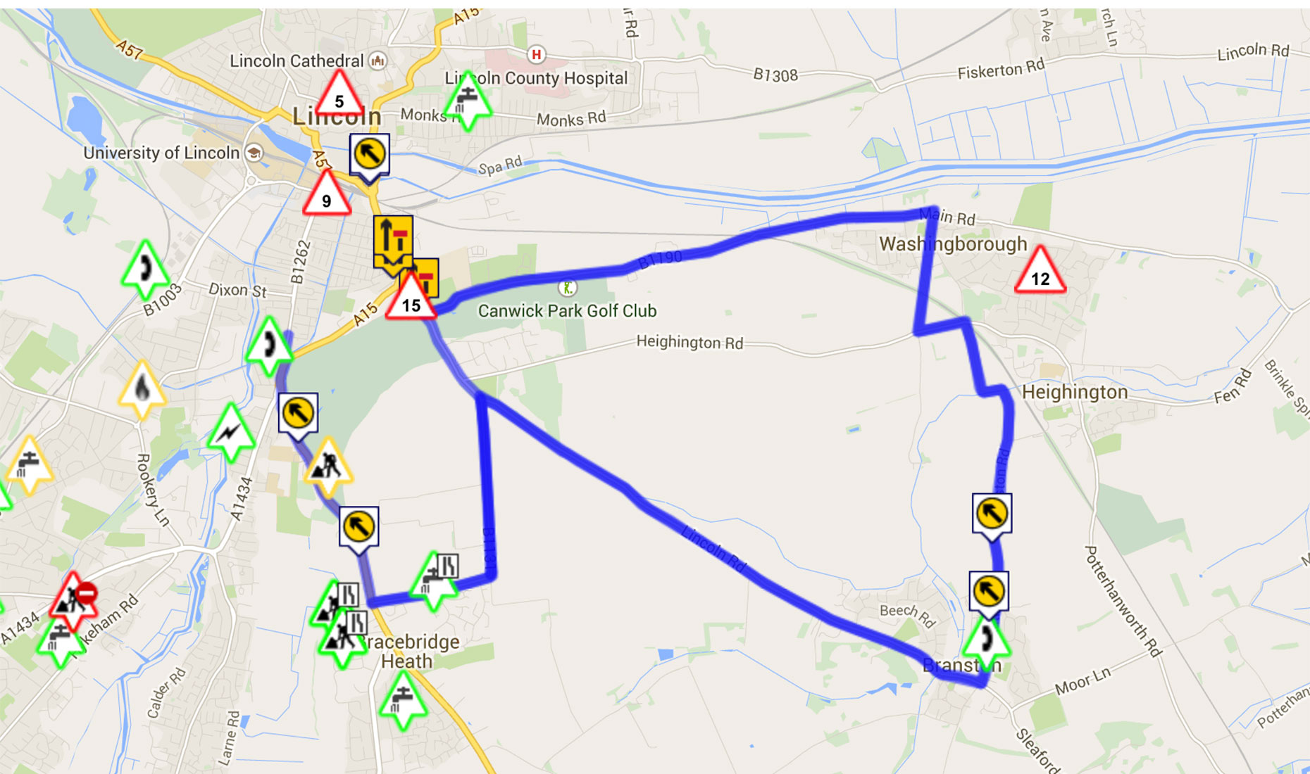 Diversion routes for the Lincoln Canwick Road works. Map data: Google