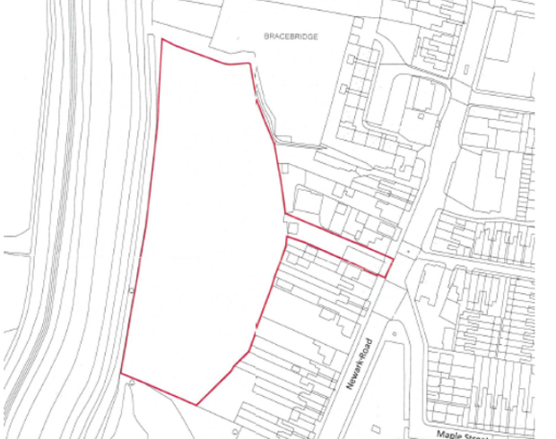 The area and access road selected for the erection of 150 new apartments off Newark Road.