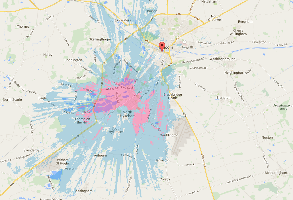 4G coverage in Lincoln at time of publishing. Outdoor coverage is represented in blue while indoor and outdoor coverage is represented in pink.