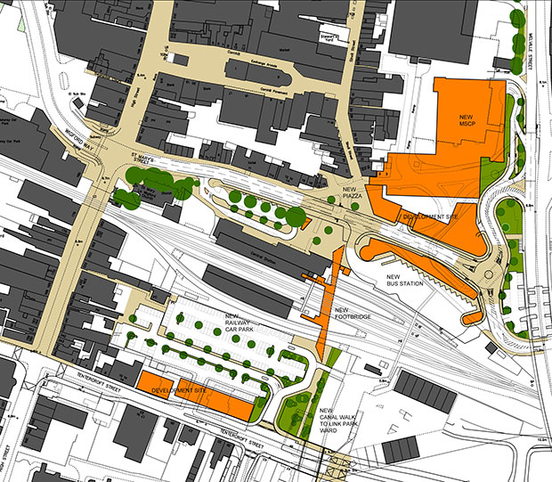 The site plan for the new Lincoln Transport Hub.