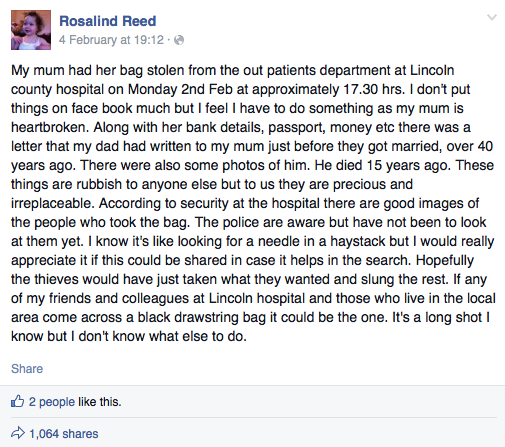 The appeal by the victim's daughter has been shared over 1,000 times on social media.