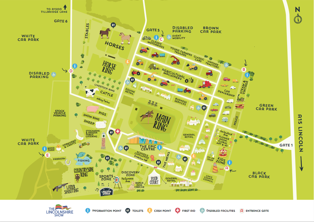 The layout for the 2015 Lincolnshire Show, at the Lincolnshire Showground.