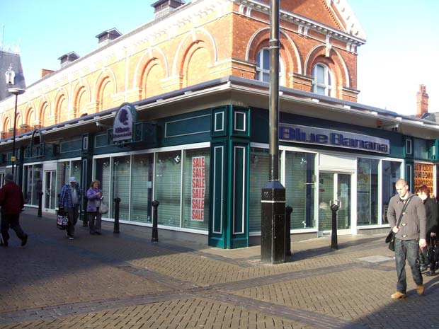 The former Blue Banana store, one of the unsightly modern extensions to the Grade II listed Corn Exchange.