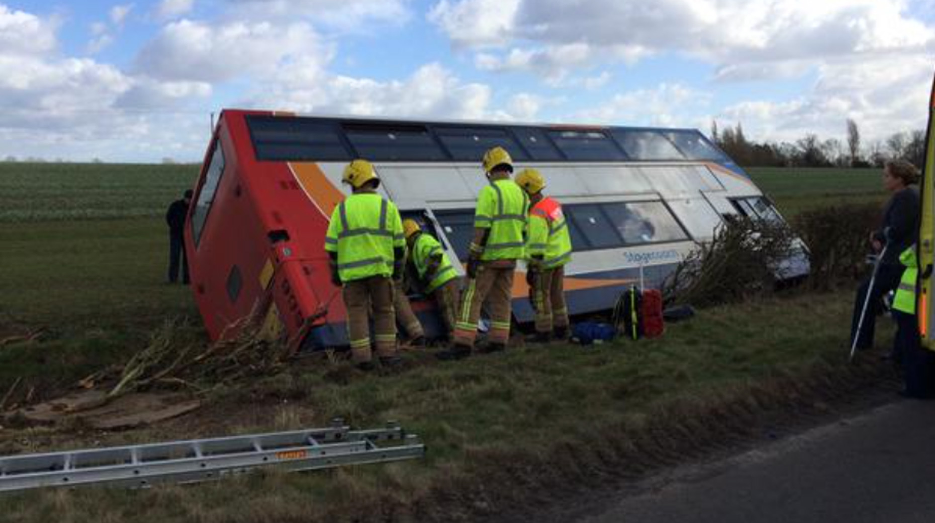 Double Decker Bus Crashes Into Ditch Near Lincoln