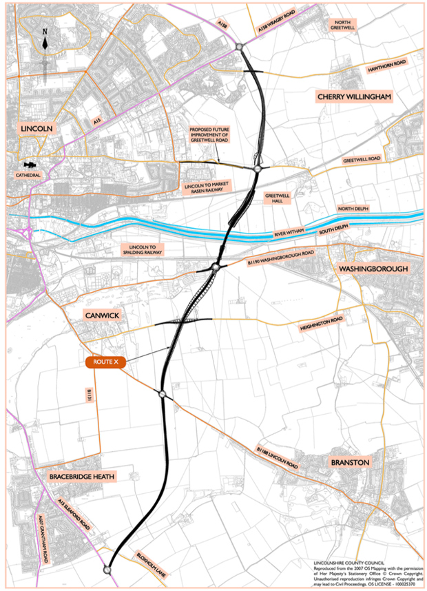One of the visual route proposals fro the Lincoln Eastern Bypass. Image: LCC