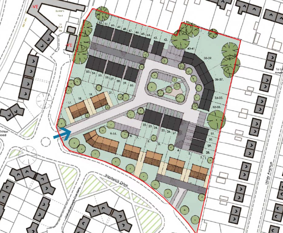 The indicative site layout in the outline plans for residential development from Westwick Drive.