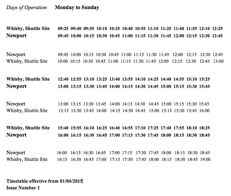 The Lincoln Castle Shuttle Buss timetable.