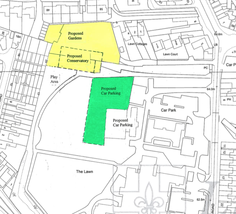 The site allocated for the new Joseph Banks Conservatory in yellow.