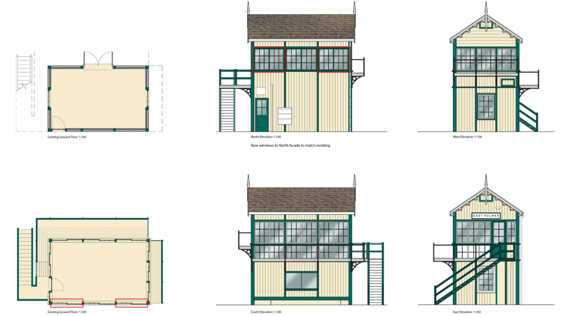 The signal box would be lifted from it's current location next to the railway and given new windows. Image: Stem Architects