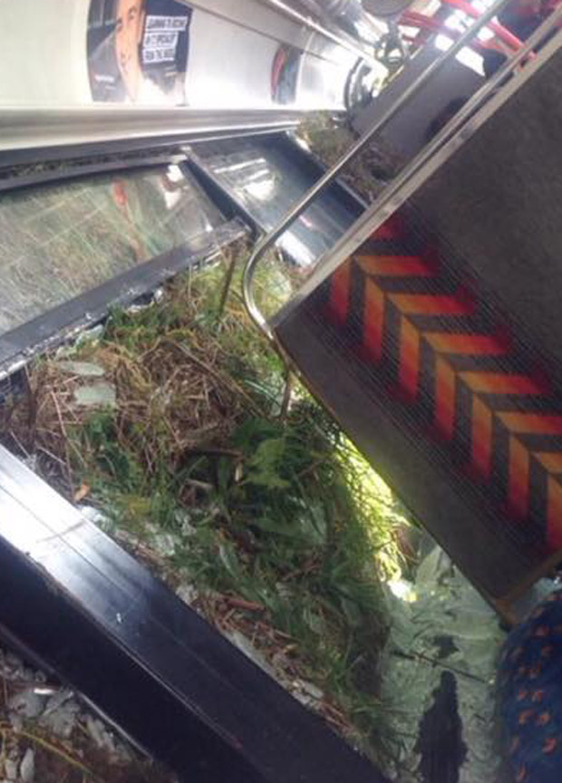 Inside the overturned bus, captured by one of the passengers.