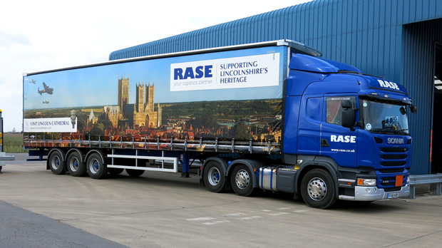 The new attractive Lincoln livery on the side of the Rase Distribution lorries.
