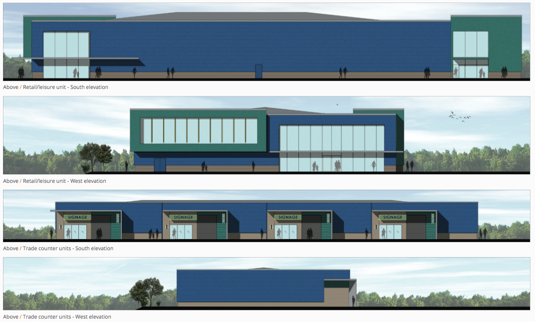 The proposed designs for the retail and leisure building. Image: Urban Edge Architecture