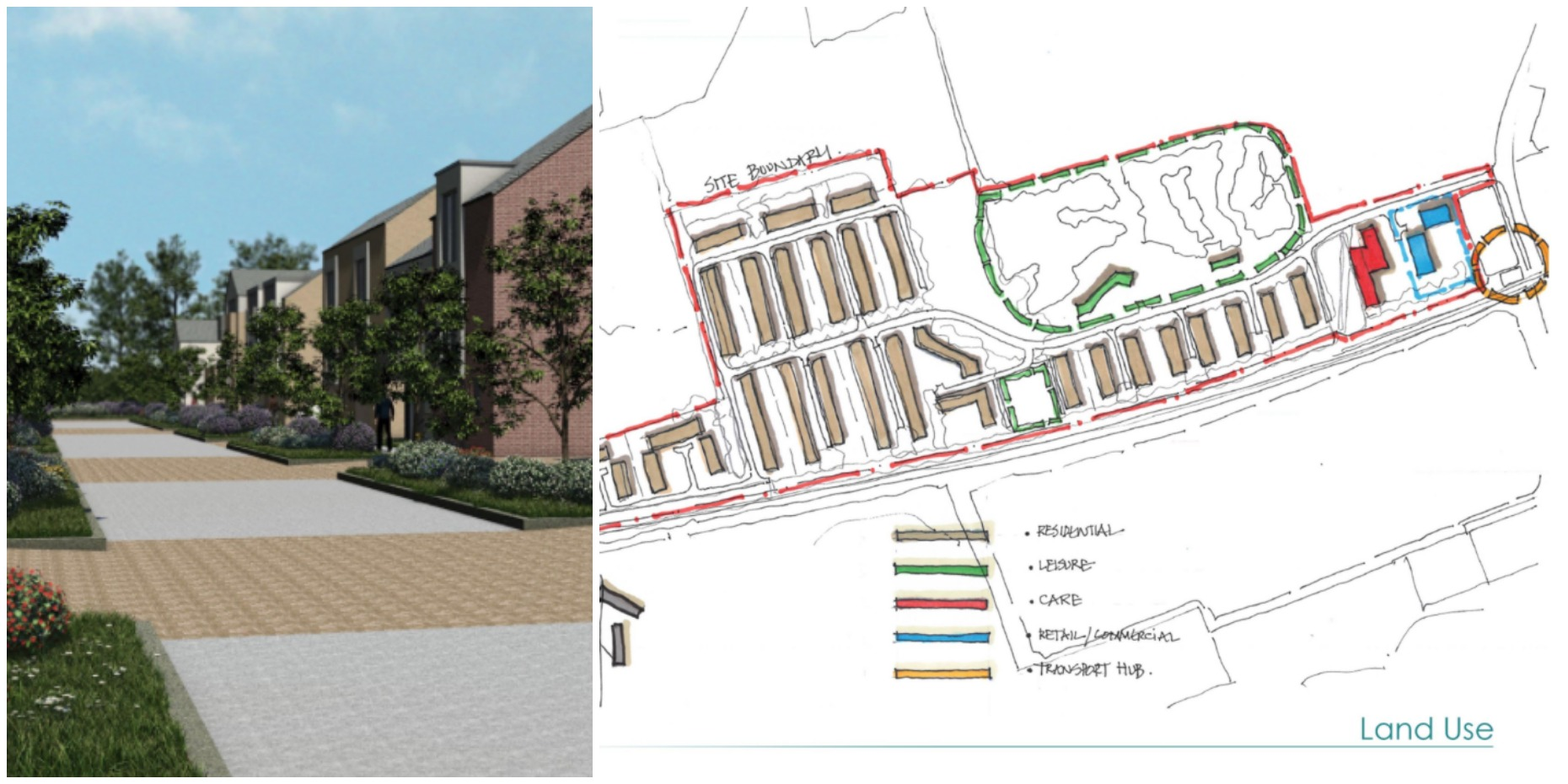 The Leafbridge development designs for almost 300 homes and amenities. Designs: Core Architects