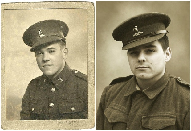 Private James Moles in the 1940s and his character in Invicta