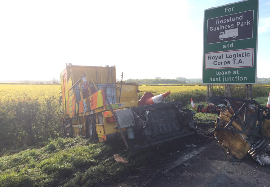 The two lorries collided on the A1 between Grantham and Newark.