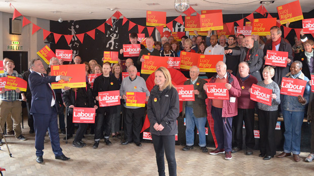 Labour MP candidate for Lincoln Lucy Rigby alongside her supporters at Grafton House. Photo: The Lincolnite