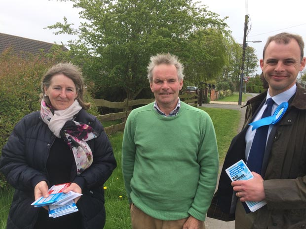 Martin Hill electioneering with Cllr Sue Woolley and the (at the time) prospective MP Matt Warman, who was duly elected.