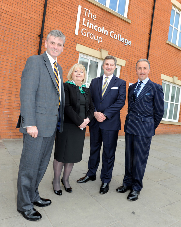 Air Vice-Marshall Andrew Turner, Chair of the Board of Governors at Lincoln College Margaret Serna, CEO of Lincoln College Group Gary Headland and Air Commodore Chris Luck.