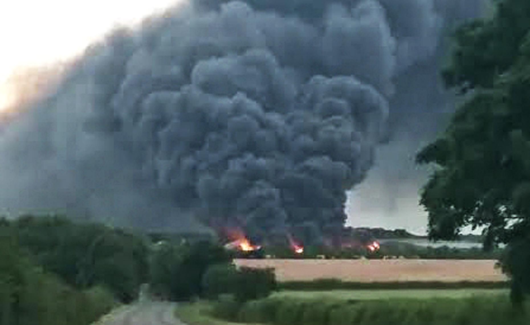 The fire has engulfed around 4,000 bales of waste. Photo: Simon Meadows