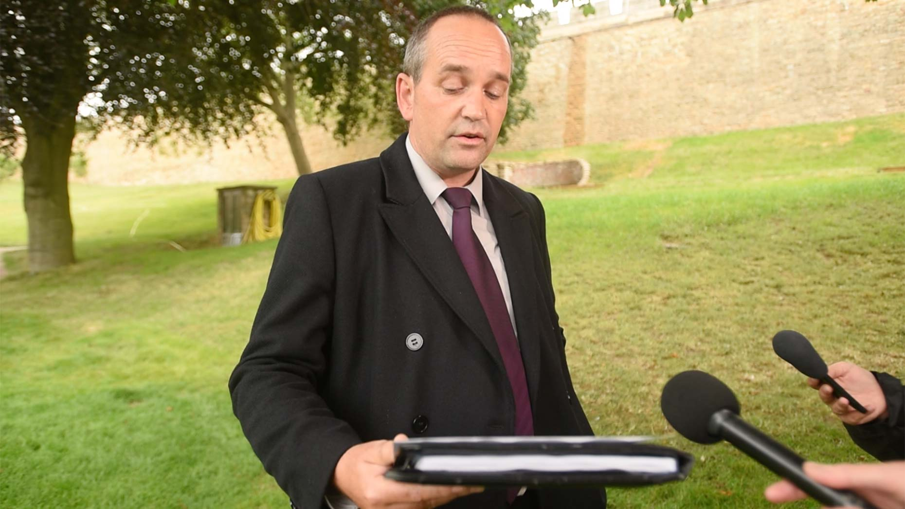Detective Constable Ian Ingamells addressing media at Lincoln Crown Court
