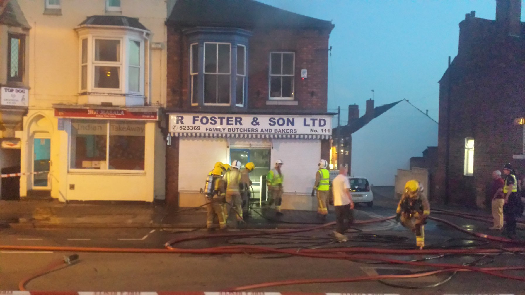 Fire Crews have extinguished the fire and the Foster Brothers check how bad the damage is