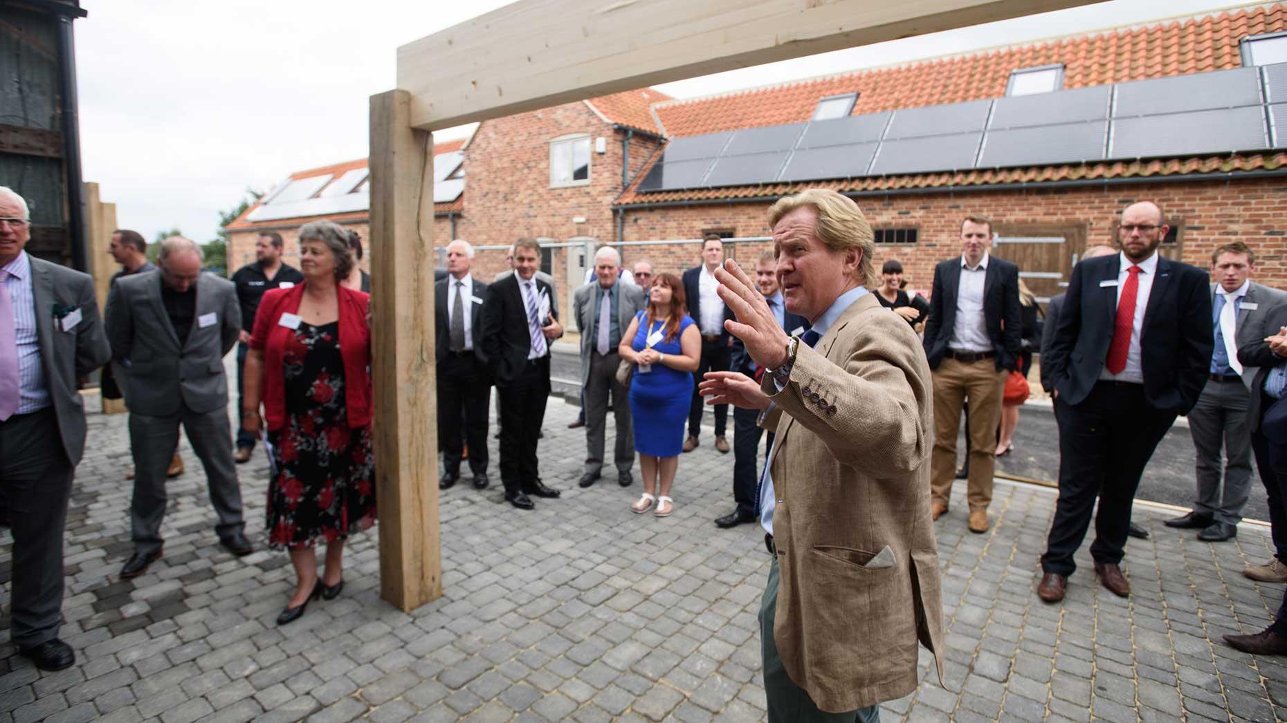 James Birch of Doddington Hall introducing the scheme as building gets underway.