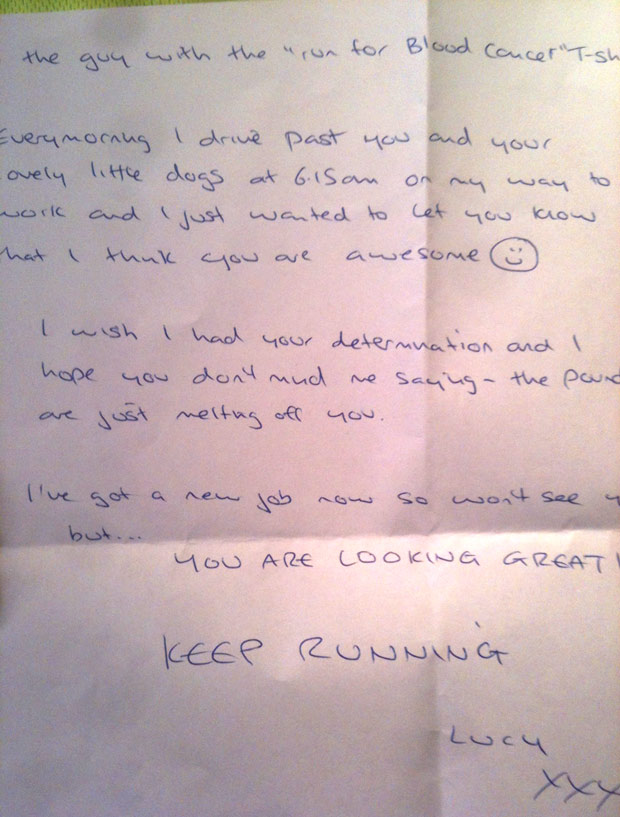 The letter to Jonathan on his morning Lincoln running route.