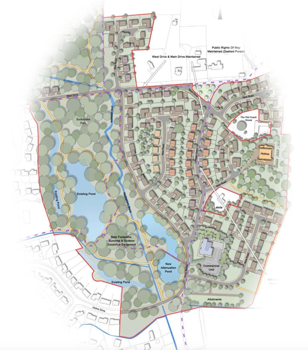 Developers' vision for The Parklands in Sudbrooke. Artist impression: Stem Architects