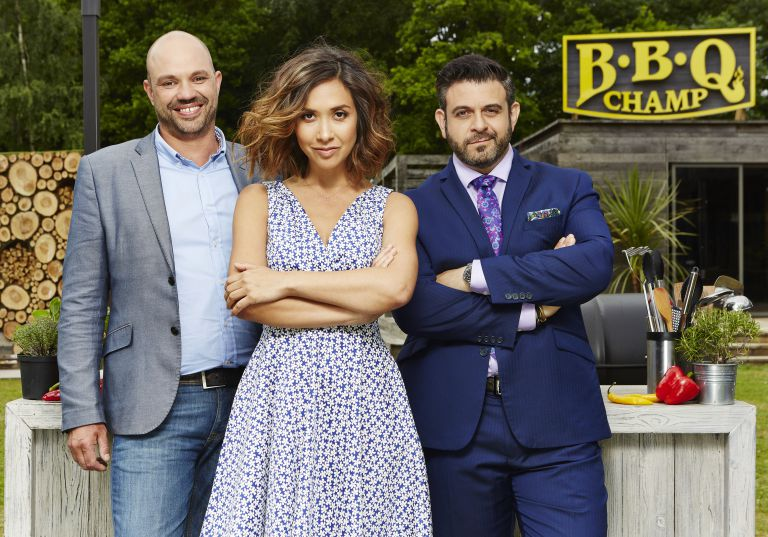 Adam Richman (right) is now starring in the new ITV show BBQ Champ alongsideMyleene Klass and Mark Blatchford. Photo: ITV