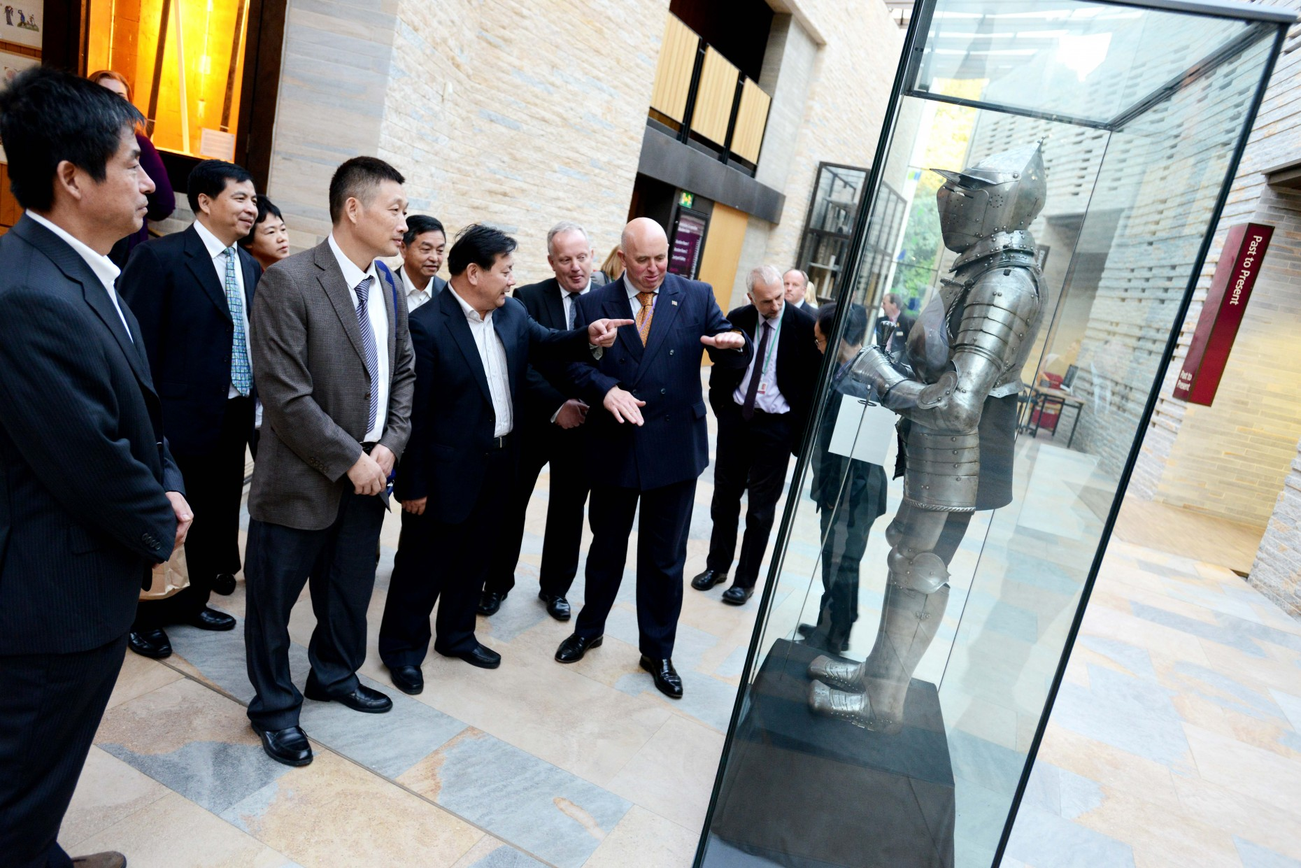 Councillor Colin Davie shows the visitors from Hanan province the historic sights of Lincoln