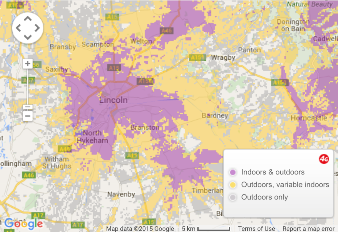 Areas of Lincoln covered by Vodafone's 4G network. (purple)