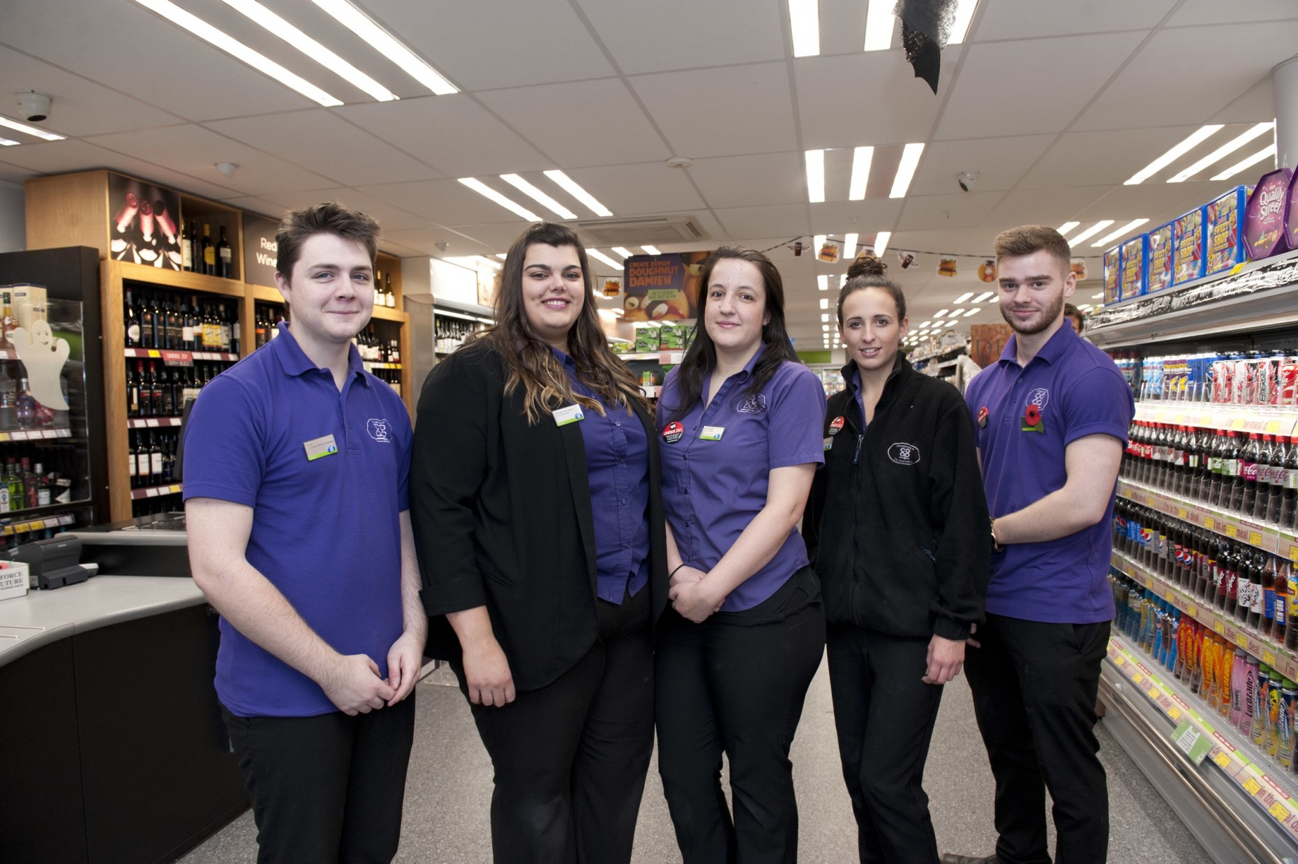Washingborough Food Store team, from left: Scott Farley, Store Manager Rachelle Richardson, Emily Smejka, Olivia Rattigan and Anthony Beal.
