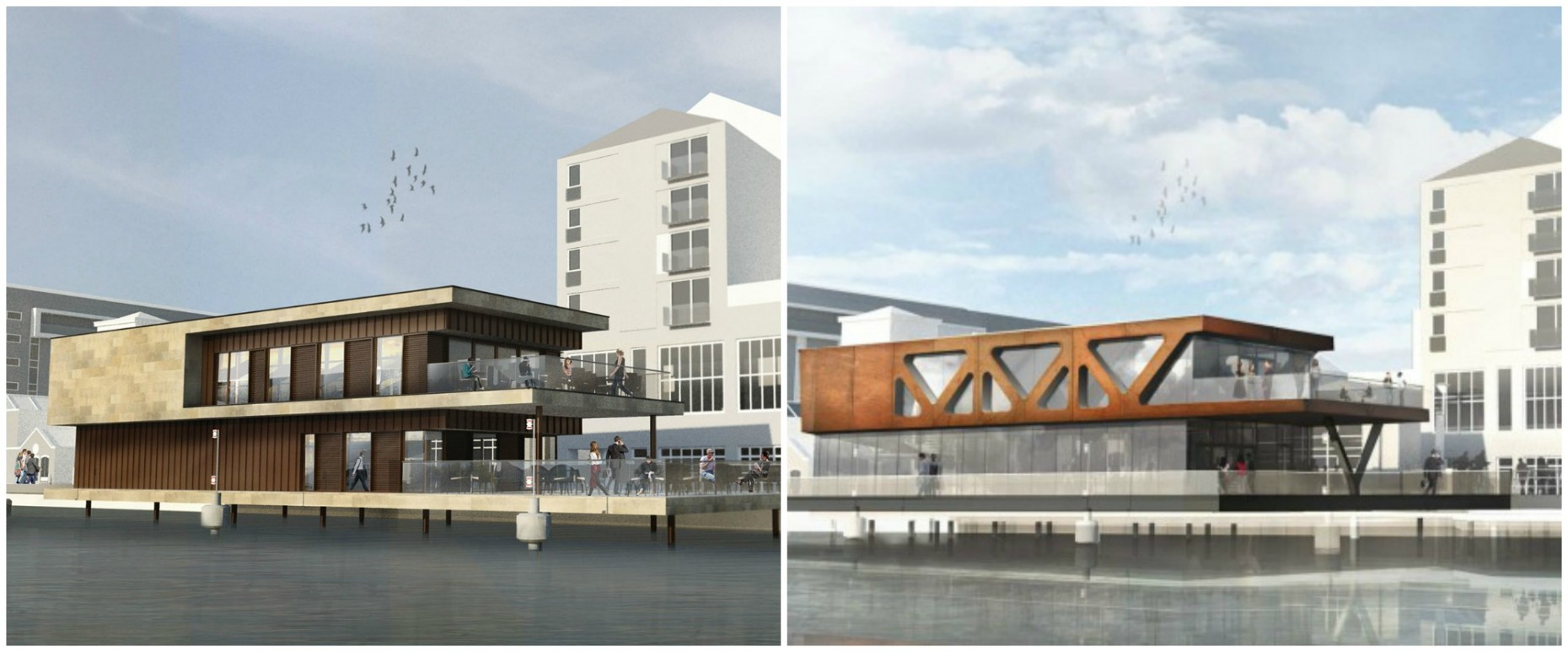 Initial designs (L) vs the new designs for the Brayford's second floating restaurant, with the viewing platform maintained and refurbished. Artist impression: Stem Architects